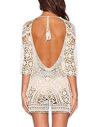 Minetom Mujeres Vestidos Escotado por Detrás Encaje Crochet Bikini Cubrir Cover Up Playa Vestido Pareos Traje