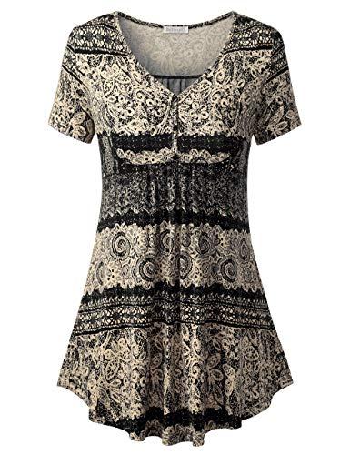 BAISHENGGT Damen Henleyshirt Longtee V-Ausschinitt Tunika Vintage Basic Schwarz Blumen #2 XL