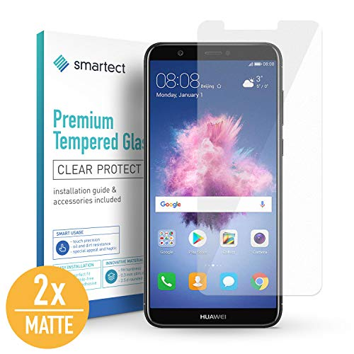 SmarTect [2X Mat Protector de Pantalla de Cristal Templado para Huawei P Smart Lámina Protectora Ultrafina de 0,3mm | Vidrio Robusto con Dureza 9H y Antihuellas Dactilares