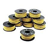 sourcingmap® 10 rouleaux PVC souple Jaune Numéro 0-9 Chiffres arabes imprimés Câble 1.5mm2 marqueurs