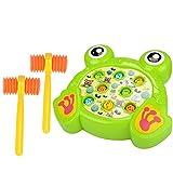 Klopf Hämmerspielzeug whack a Mole, Vicoki Kinder Hammer Spiel Klopfbank Schlagspiel Buntes Karikatur Design Elektronisches Spielzeug mit Musikeffekt und 2-Hämmer (Frosch)