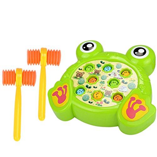 Klopf Hämmerspielzeug whack a Mole, Vicoki Kinder Hammer Spiel Klopfbank Schlagspiel Buntes Karikatur Design Elektronisches Spielzeug mit Musikeffekt und 2-Hämmer (Frosch) -