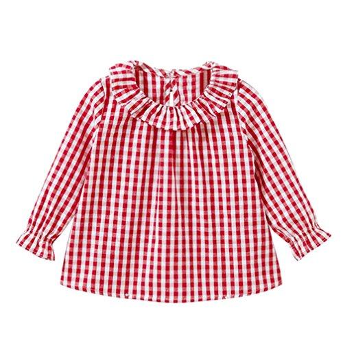 inder Karierte Hemd, DoraMe Baby Mädchen Puppenkragen Baumwolle Bluse Lange ärmel T-shirt Mode Lässig Pullover (Rot, 3 Jahr) (31 Jahre Halloween)
