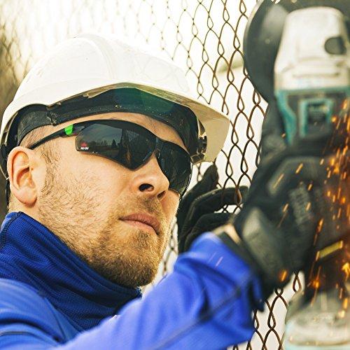 NoCry Sonnen-Schutzbrille mit grün getönten, kratzbeständigen Gläsern, Seitenschutz und rutschfesten Bügeln, UV 400 Schutz, verstellbar, schwarz grüner Rahmen. - 3