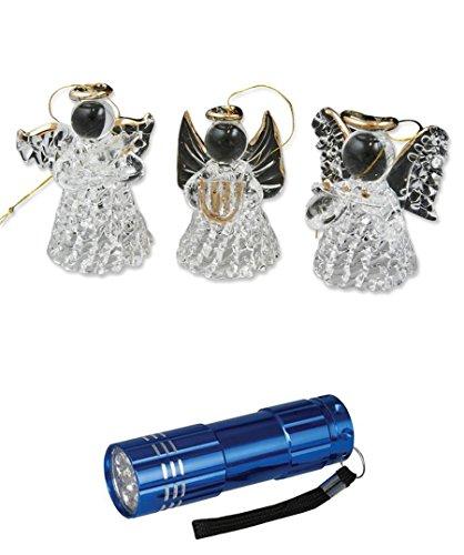 3er Set Glas-Engel Kristall/gold stehend/hängend 4 cm mit LED Alu Taschenlampe (Stehend Taschenlampe)