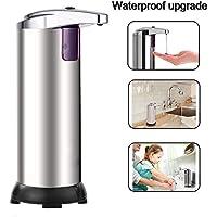 Dispensador de Jabón, Rixow Dispensador de Jabón Líquido Automático Acero Inoxidable con Sensor Infrarrojo sin Contacto Resistente al Agua Plata