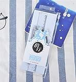 PrutX Regalo di Forniture Scolastiche Interessanti Righello in plastica per cancelleria per studenti di 4 pezzi (blu)