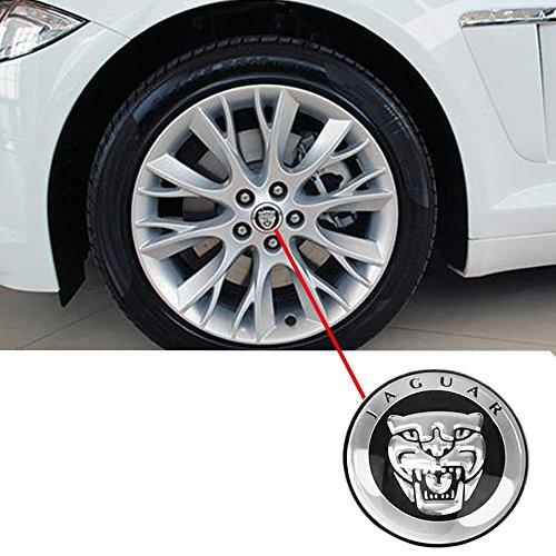 OPAYIXUNGS 4 Stück Logo Jaguar, für Radzylinder, Nabenabdeckung Felgen-Emblem, Nabenkappen,Adhesive Emblem Decals