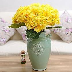 YSBER 3 Headramo Artificial flores de Hortensia Artificial flores boda ramo de celebrar flores parte jardín decoración de la mesa(Amarillo)