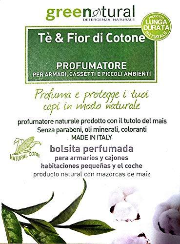 GREENATURAL - Tee und Baumwollblumen Parfümbeutel - Parfümiert und schützt Schränke und Schubladen - Pflanzliche Inhaltsstoffe - Langlebig - Parabene, Mineralöle, Farbstoffe frei - 1St