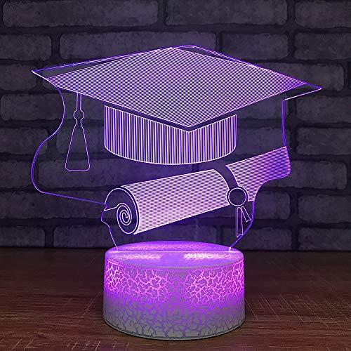 YDBDB Nachtlicht Zuhause 7 Farbwechsel 3D Led Graduation Cap Zertifikat Nachtlichter Tischlampe Beleuchtung Studie Schlafzimmer Geschenke (Graduation Cap Lila)