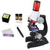 ISIYINER Microscopio per Bambini, Microscopio Giocattolo Microscopio di Scienza Giocattoli 100x400x1200x con Luce a LED Porta Meraviglioso Microbico per la Prima Educazione (nero)