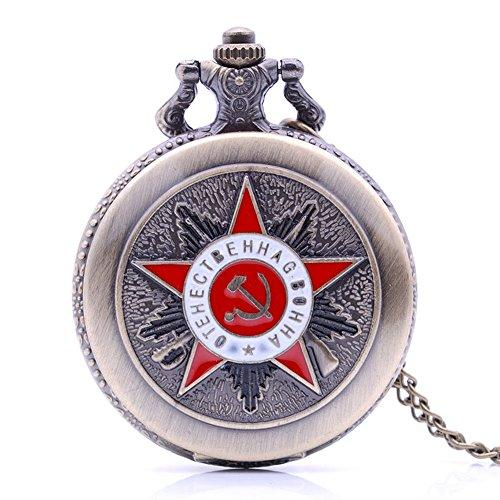 Retro Rot UdSSR Emblem Russland Sowjet Sichel Hammer Herren Taschenuhr Quarz Analog Anhänger Halskette Kette Damen