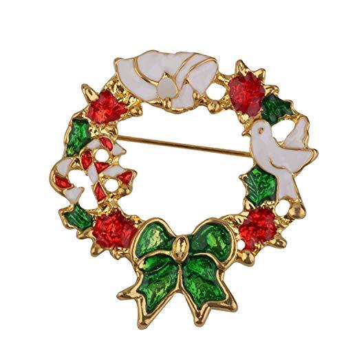 GAXIA Home Brosche für Weihnachten Geschenk Mode Girlande-Form Weihnachten - Spazierstock, Größe Kind