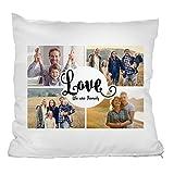 """Personello Fotokissen (40x40) Collage mit 4 Fotos, Love Schriftzug und Spruch """"We Are Family"""", Fotogeschenk, Kissen mit Text, Inklusive Füllung und Reißverschluss"""