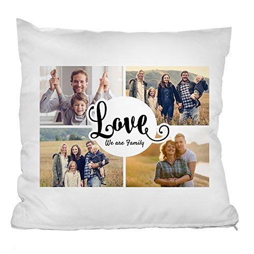 Personello Fotokissen (40x40) Collage mit 4 Fotos, Love Schriftzug und Spruch