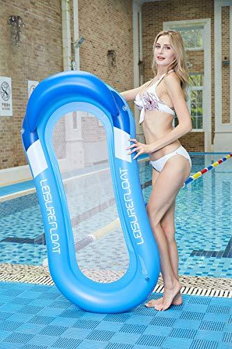 Pool Hängematte, HomeYoo Wasser Sofa mit Kopfteil, Wasser Schwimmliege Wasserhängematte Wasserliege aufblasbares, Luftmatratze Pool Lounger für Erwachsen Sommer im Freienschwimmen Liege(Blau)