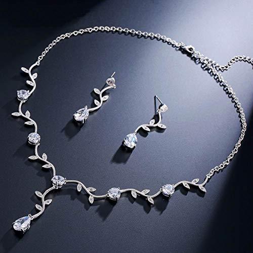 c Elegante Blätter Reben Teardrop Braut Anhänger Halskette Baumeln Ohrringe Hochzeit Schmuck Set ()