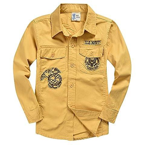 XiaoYouYu - T-Shirt à manches longues - À logo - Col Chemise Classique - Manches Longues - Garçon - Jaune - 8 ans
