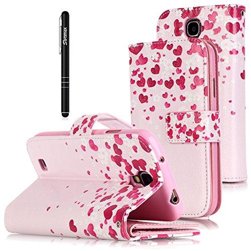 Slynmax Slynmax Leder Tasche Hülle Kompatibel mit Samsung Galaxy S4 Flip Wallet Case Portemonnaie Love Herz Premium Leather Brieftasche Lederhülle im Ledertasche Handyhülle Klapphülle Cover mit n Slot