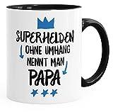 MoonWorks Superhelden ohne Umhang Nennt Man Papa Kaffee-Tasse Teetasse Keramiktasse schwarz Unisize