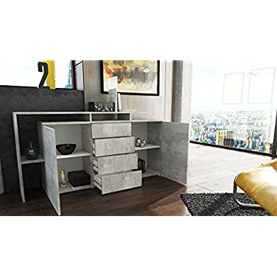 Vladon Sideboard Chest of Drawers Buffet Lissabon in Concrete Grey