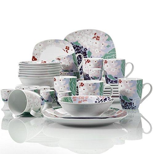 Veweet OLINA 40pcs Service de Table Pocelaine 8pcs - Assiettes Plates 24,6cm, Assiette à Dessert 19cm, Bols à Céréales 17cm, 360ml Mug Tasse à Thé, Coquetier, Vaisselles pour 8 Personnes Fleuri