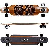 Tabla de skate FunTomia®, longboard, incluye llave en forma de T para rodamientos Mach1® ABEC-11 de gran velocidad, Modell Freerider Bambus Fiberglas2 - Farbe Mexican Skull + T-Tool