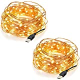 InnoWill Lichterkette USB LED [2 Packs] 5M 50 Micro LEDs auf Silber Wire Fairy Lights (5M * 2)