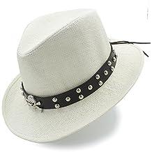 HYF Sombrero de Paja para Hombre Sombrero Vaquero Occidental con cinturón  Punk (Color   Crema 3d1326bddb8