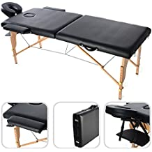 Todeco - Mesa de Masajes Plegable, Mesa de Terapia Profesional - Tamaño: 186 x 71 x 62 cm - Alto: Ajustable 62-83 cm - Negro, con reposacabezas, reposabrazos, bolsa de transporte, Pata de madera, 2 secciones plegables