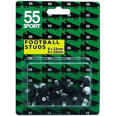55deporte Copa Mundial de Fútbol studs, negro, 12x13 mm + 4x16 mm