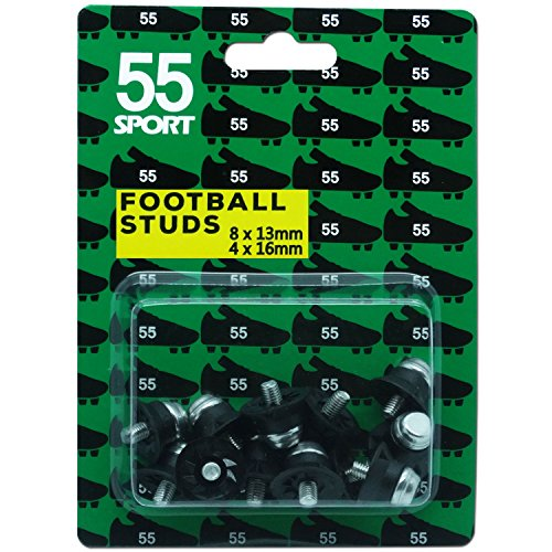 55Sport Coppa del Mondo di calcio borchie, Black, 12x13 mm + 4x16 mm
