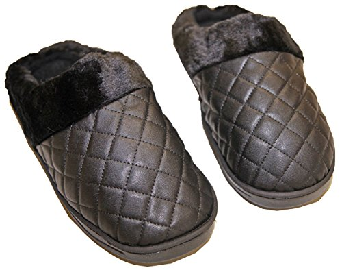 Similpelle Pietra Pantofole Ripiene Pantofole cedric Confortevole Donna Nera qHEUw6