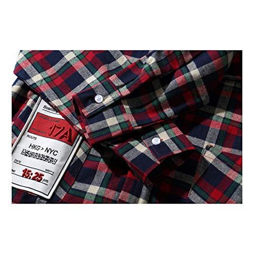 HENONG EU Männer Street Hip Hop lose Oversize Brief drucken Multi Pocket Plaid Shirt Jacke (Color : Purple, Size : XXL) -