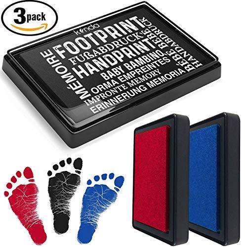 kiinda Baby Fuß- oder Handabdruck Set in 3 Farben | sichere wiederverwendbare Stempelkissen | leicht von der Haut abwaschbar | ideales Geschenk (schwarz + rot + blau)