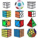 Aiduy Speed Cube Set 12 Piezas, Cubo Pirámide Triángulo 2x2 3x3 4x4 5x5 Cubo Mágico, Cubo Megaminx + Cubo Skew Ivy + Cubo Mirror + Magic Rainbow Ball Speed Cube