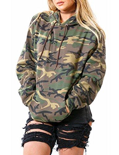 Damen Langarm Kapuzenpullover Camouflage Tarndruck Hoodie Sweatshirt (M, Grün)