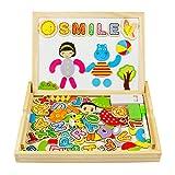 Holzspielzeug | Magnetische Holzpuzzle Mit Zahlen und Buchstaben | Puzzle aus Holz | Tolles Geschenk für Junge Mädchen Kleinkinder ab 3 Jahre