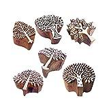 Royal Kraft Ceramiche Stampa Timbro Fatto Mano Albero Disegno Legno Blocchi (Set di 6)