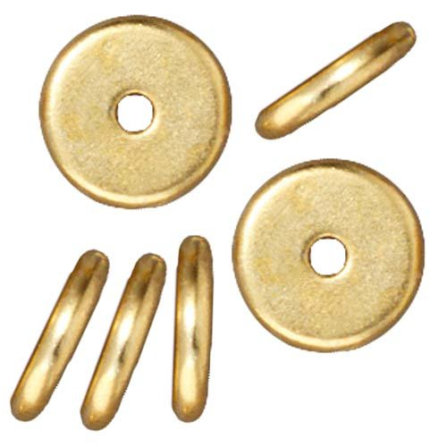 Bright 22K Gold Plated Lead-Free Pewter Disk Heishi Spacer Beads 8mm (10) -