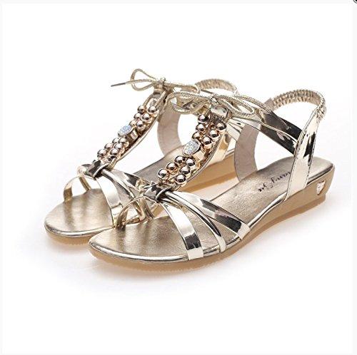 XY&GKFond plat de perles Femmes Sandales femme's'S Beach confortable talons bas Chaussures d'été 38 gold