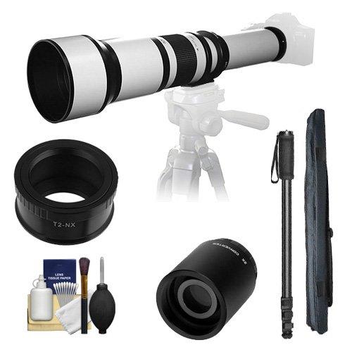 Samyang 650-1300mm F/8-16Teleobjektiv (weiß) (T) mit Halterung 2x Telekonverter (= 2600mm) + Einbeinstativ + Zubehör-Kit für Samsung NX20, NX200, NX210& NX1000Digitalkameras