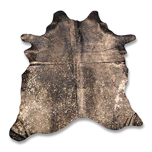 Premium Kuhfell-Teppich - L195 x B186 cm - schwarz gold gesprenkelt - einmaliges Naturprodukt aus Südamerika
