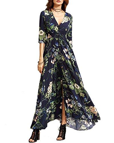 KUONUO Femme Robe Floral Longue Col V à Fleur Bohême Robe Maxi de Plage D'été Casual