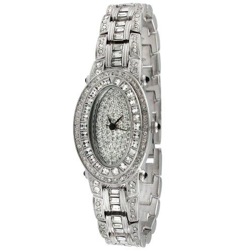 Peugeot Women's J4561 Silver-Tone Oval Swarovski Crystal Bracelet Watch