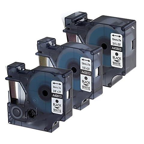 Markurlife 3x Schriftband für Dymo D1 40913 / 45013 / 45803 Etikettenband Schwarz auf Weiß 9mm / 12mm / 19mm breit und 7m lange Kompatibel mit DYMO LabelManager / DYMO LabelPoint / DYMO LabelWriter / 3M Beschriftungsgerät