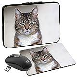 PEDEA Design Tablet PC Tasche 10,1 Zoll (25,6cm) mit Mauspad und schnurloser Maus, Cat