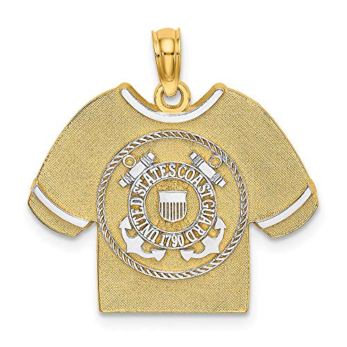 14 Karat Gold Rhodium US Coast Guard T-Shirt Emblem Charm (Coast Emblem Guard)