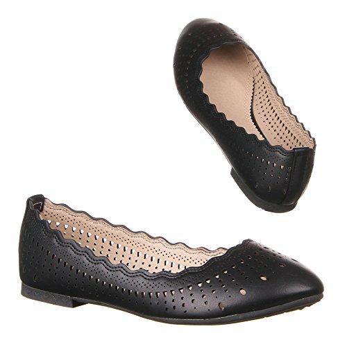 Damen Schuhe, 50961, BALLERINAS Schwarz